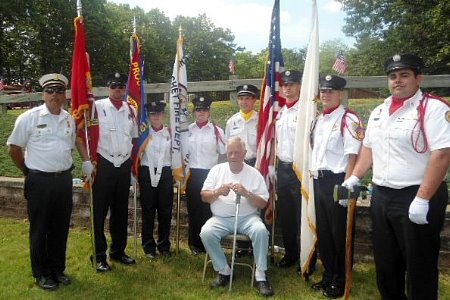At the NRIFL Firemen's Memorial - June 10, 2012  Sitting: Milton Aldrich, Harmony's longest serving member  Standing (L-R): D/C Mike Segee, NRIFL Pres. & Glocester Honor Guard,  WGFD Ryan ___ , Prob. Melissa Gieck, Prob. Alison Philbrick, Lt. John Falco, Pvt. Joshua Leary, WGFD Pvt. Andy Gaiewski, Pvt. Johnathan Detri
