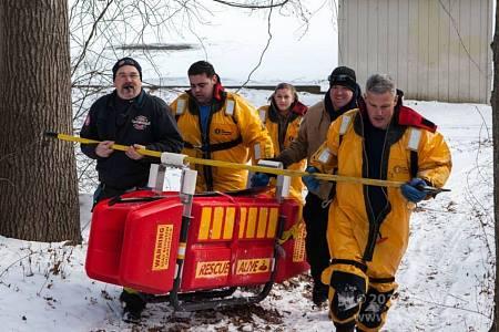 Smithfield Firefighters (at right) Participate in Ice Rescue Drill along with Harmony's Lt. John Detri, Pvt. Danielle Fiori & Pvt. Tom Malott  (2015)