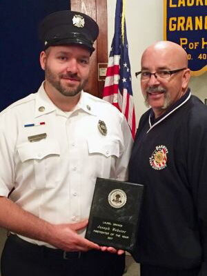 Laurel Grange honors Harmony's Joe Webster with the Volunteer Firefighter of the Year Award  May 15, 2017